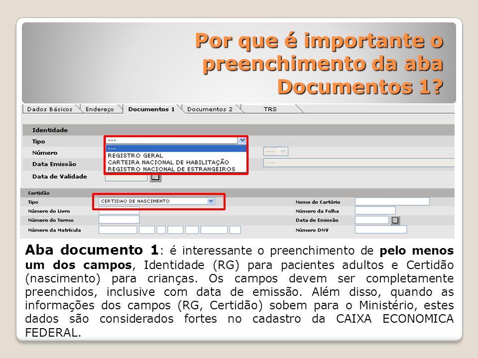 Por que é importante o preenchimento da aba Documentos 1
