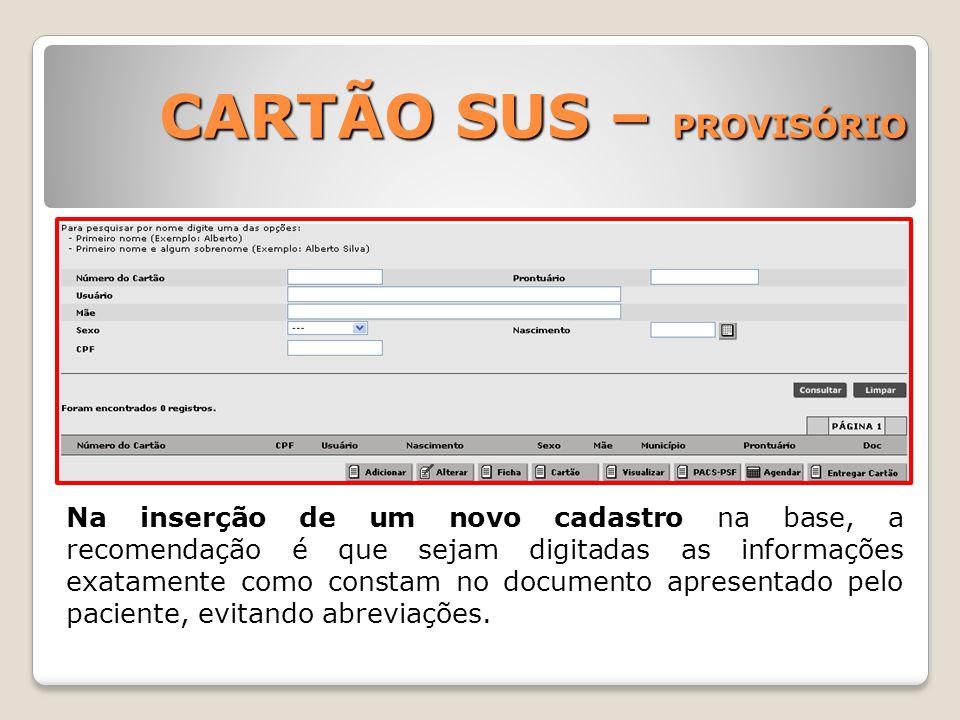 CARTÃO SUS – PROVISÓRIO