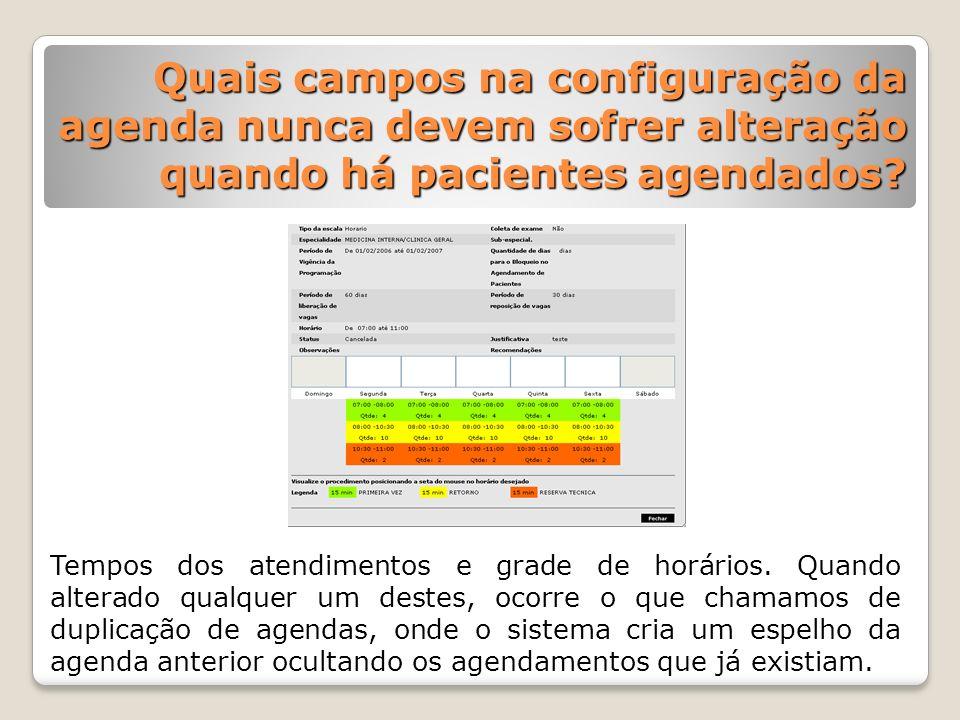 Quais campos na configuração da agenda nunca devem sofrer alteração quando há pacientes agendados