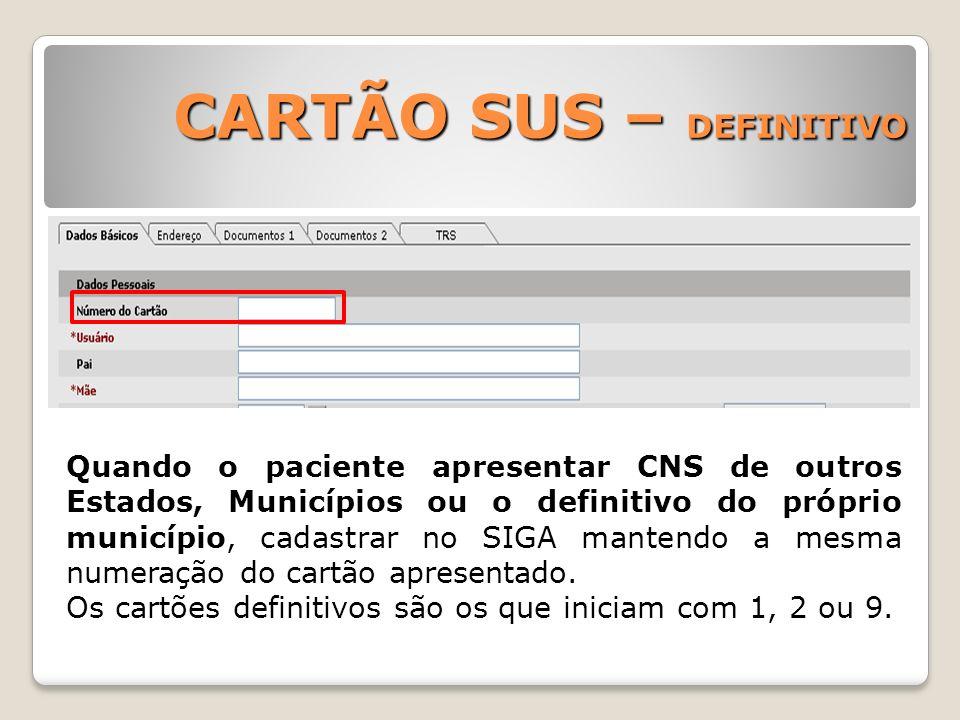 CARTÃO SUS – DEFINITIVO