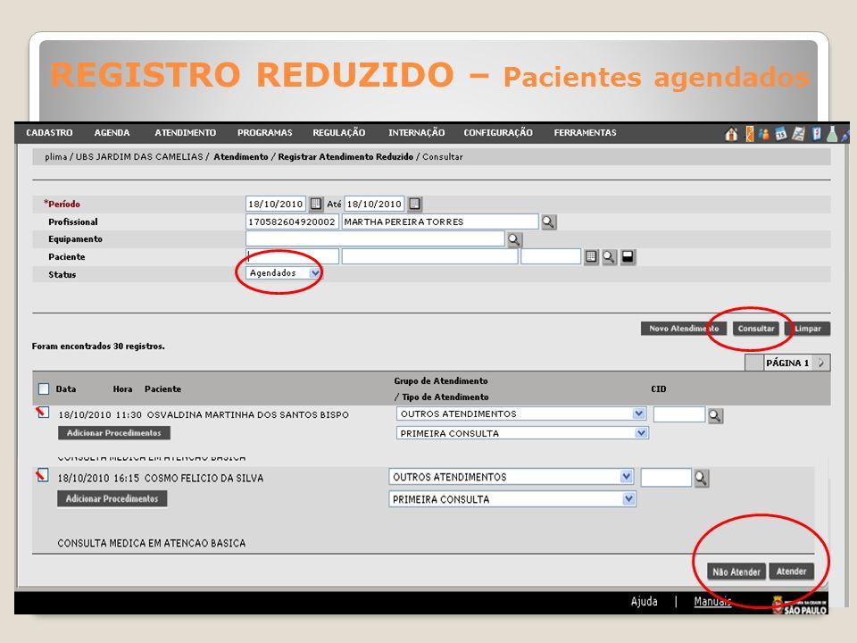 REGISTRO REDUZIDO – Pacientes agendados