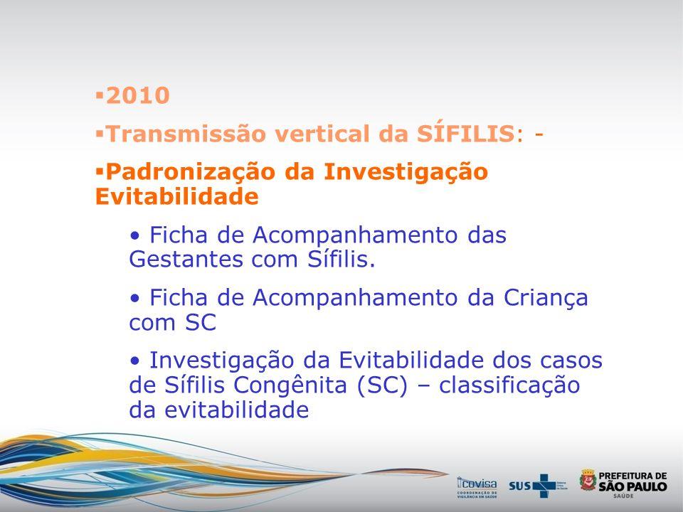 2010 Transmissão vertical da SÍFILIS: - Padronização da Investigação Evitabilidade. Ficha de Acompanhamento das Gestantes com Sífilis.