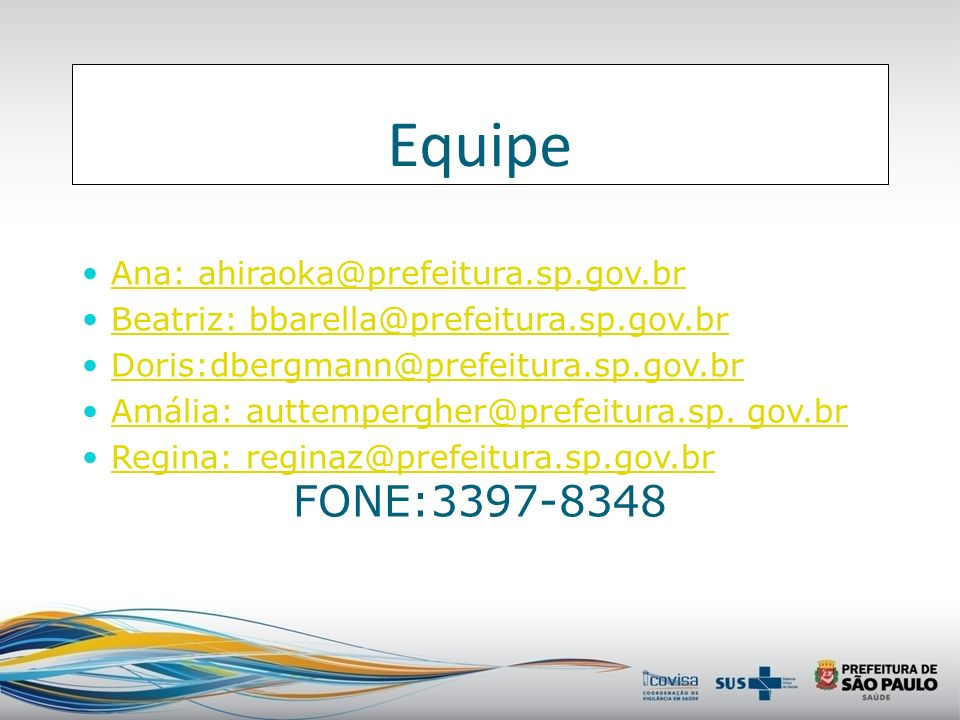 Equipe FONE:3397-8348 Ana: ahiraoka@prefeitura.sp.gov.br