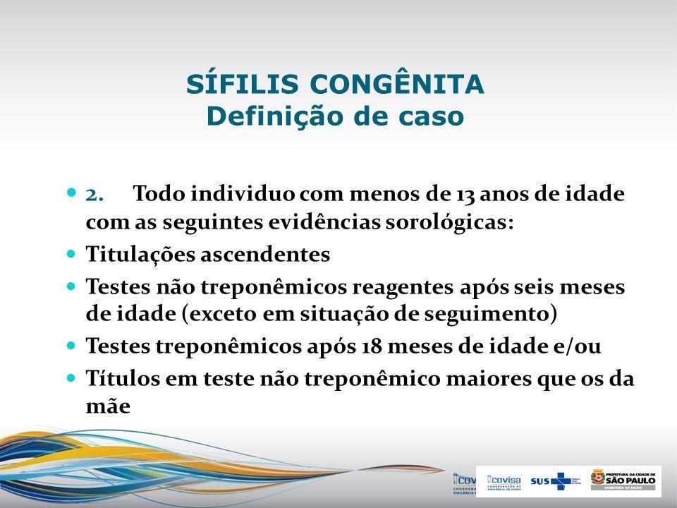 SÍFILIS CONGÊNITA Definição de caso