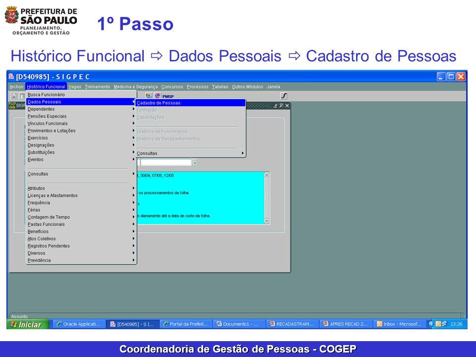 1º Passo Histórico Funcional  Dados Pessoais  Cadastro de Pessoas