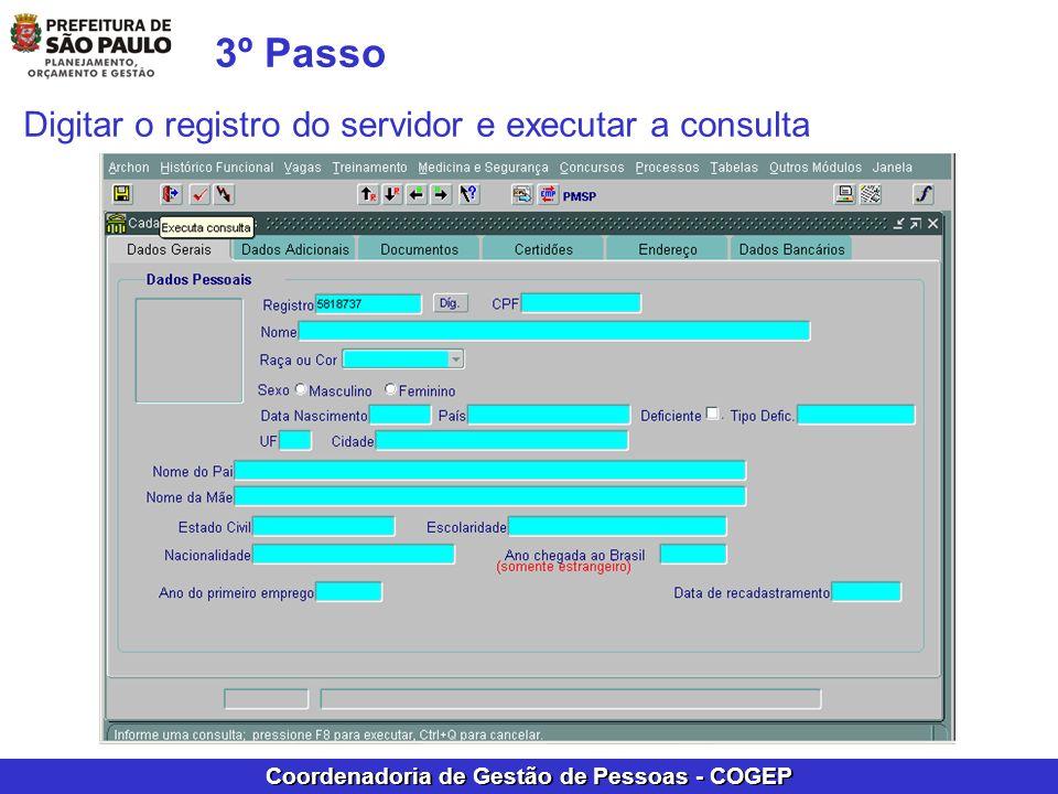 3º Passo Digitar o registro do servidor e executar a consulta