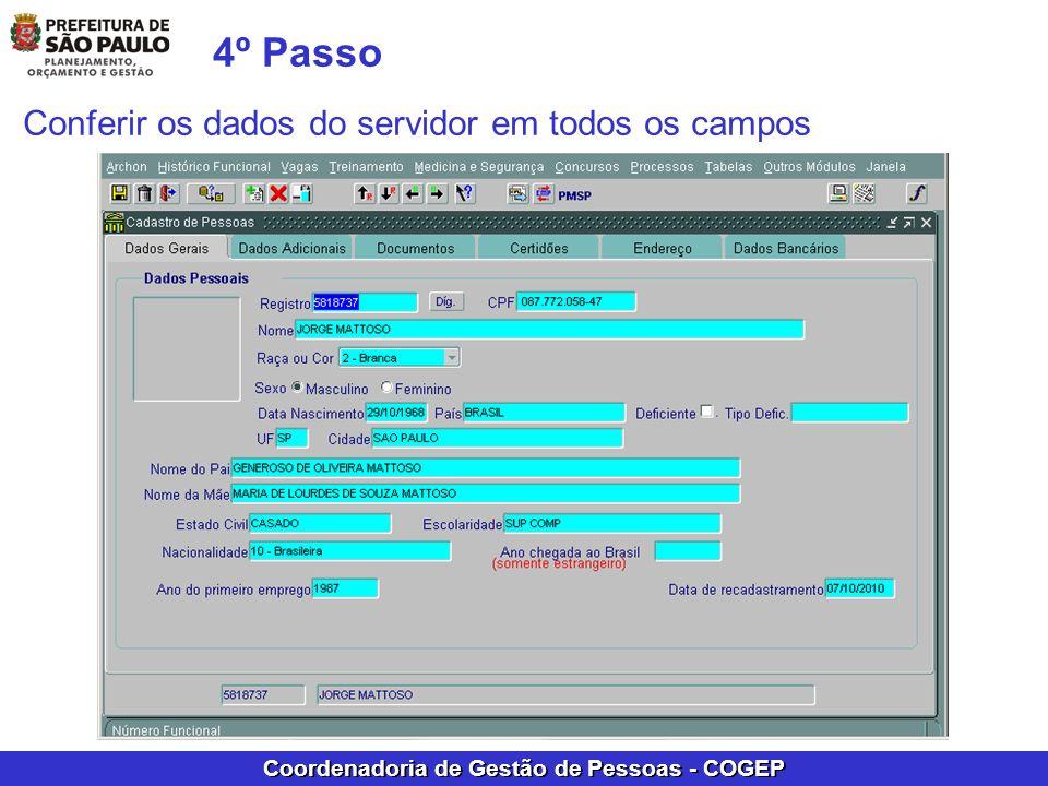 4º Passo Conferir os dados do servidor em todos os campos