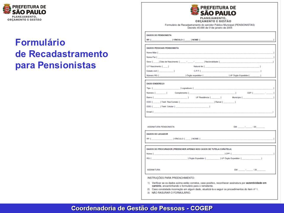 Formulário de Recadastramento para Pensionistas