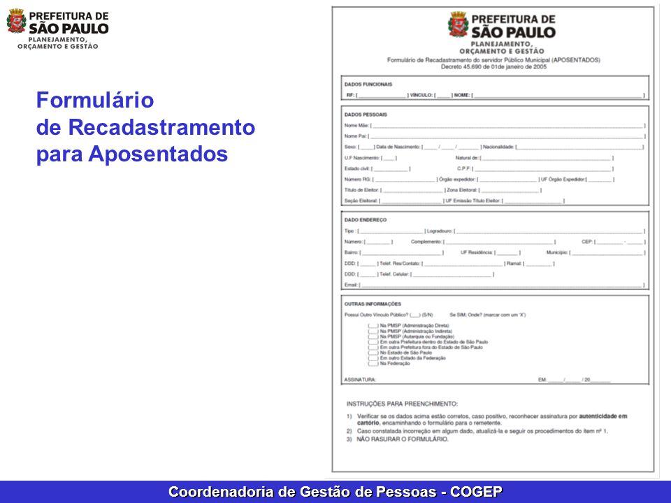 Formulário de Recadastramento para Aposentados