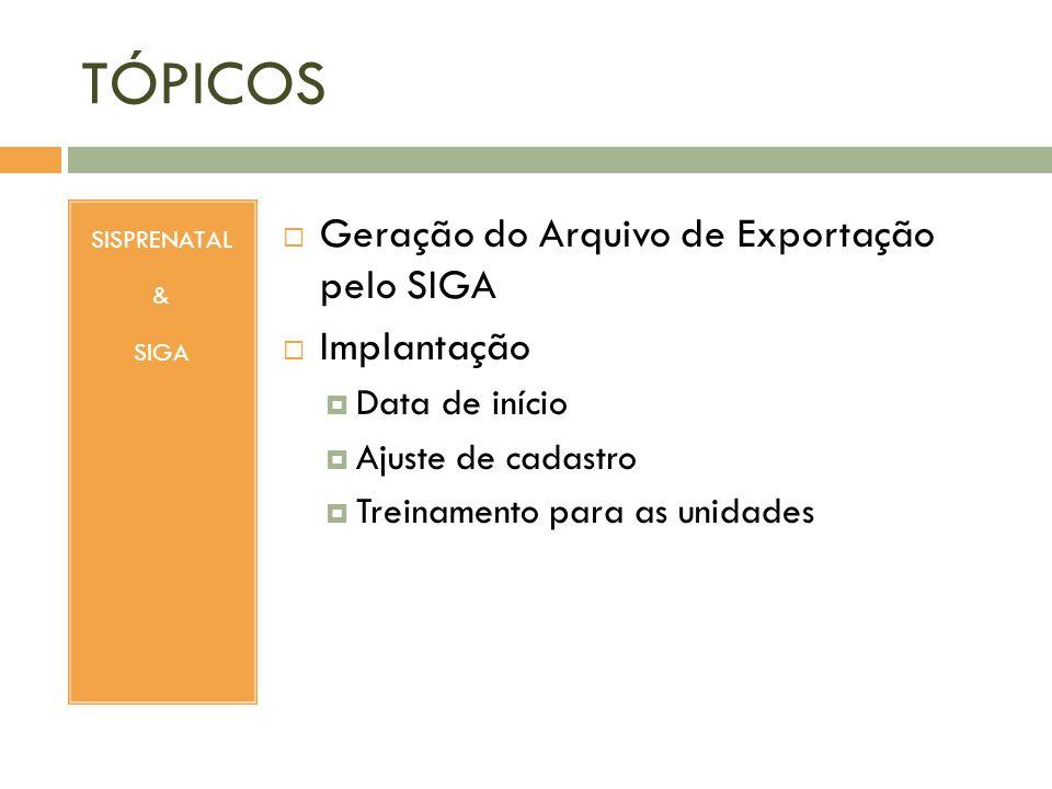 TÓPICOS Geração do Arquivo de Exportação pelo SIGA Implantação