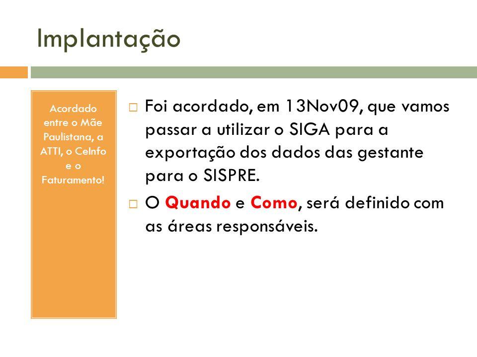 Acordado entre o Mãe Paulistana, a ATTI, o CeInfo e o Faturamento!
