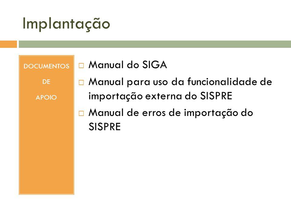Implantação Manual do SIGA