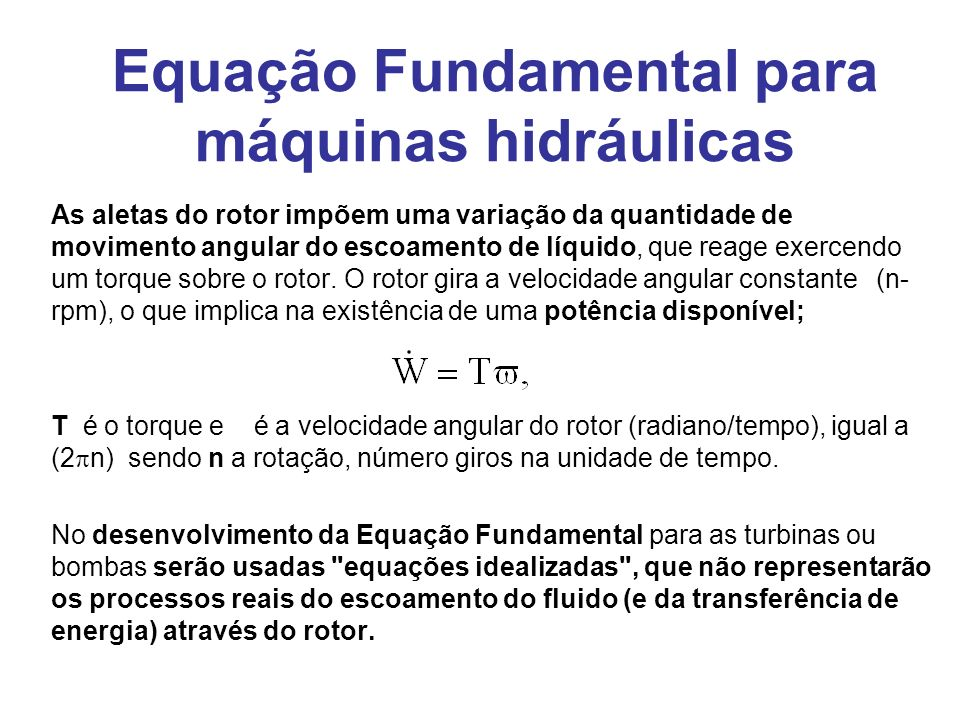 Equação Fundamental para máquinas hidráulicas