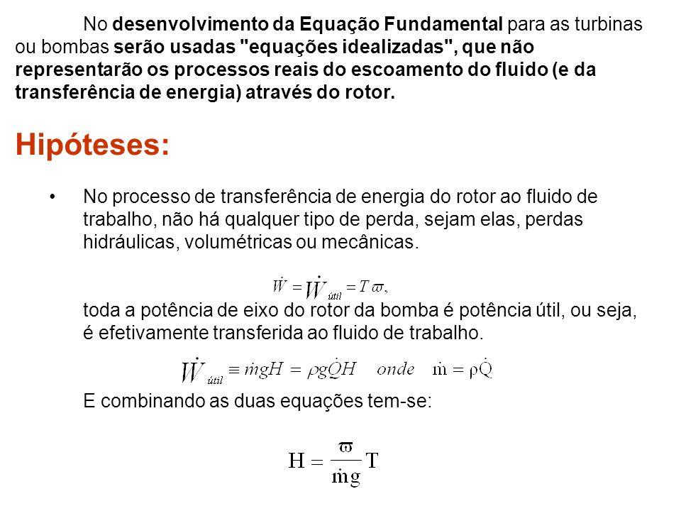 No desenvolvimento da Equação Fundamental para as turbinas ou bombas serão usadas equações idealizadas , que não representarão os processos reais do escoamento do fluido (e da transferência de energia) através do rotor.