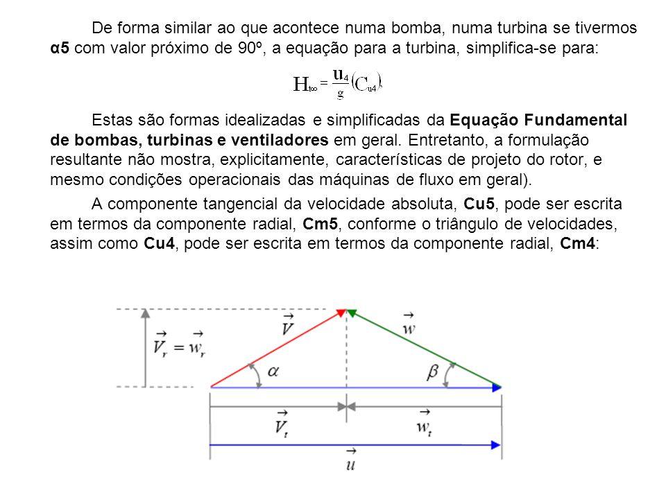 De forma similar ao que acontece numa bomba, numa turbina se tivermos α5 com valor próximo de 90º, a equação para a turbina, simplifica-se para: