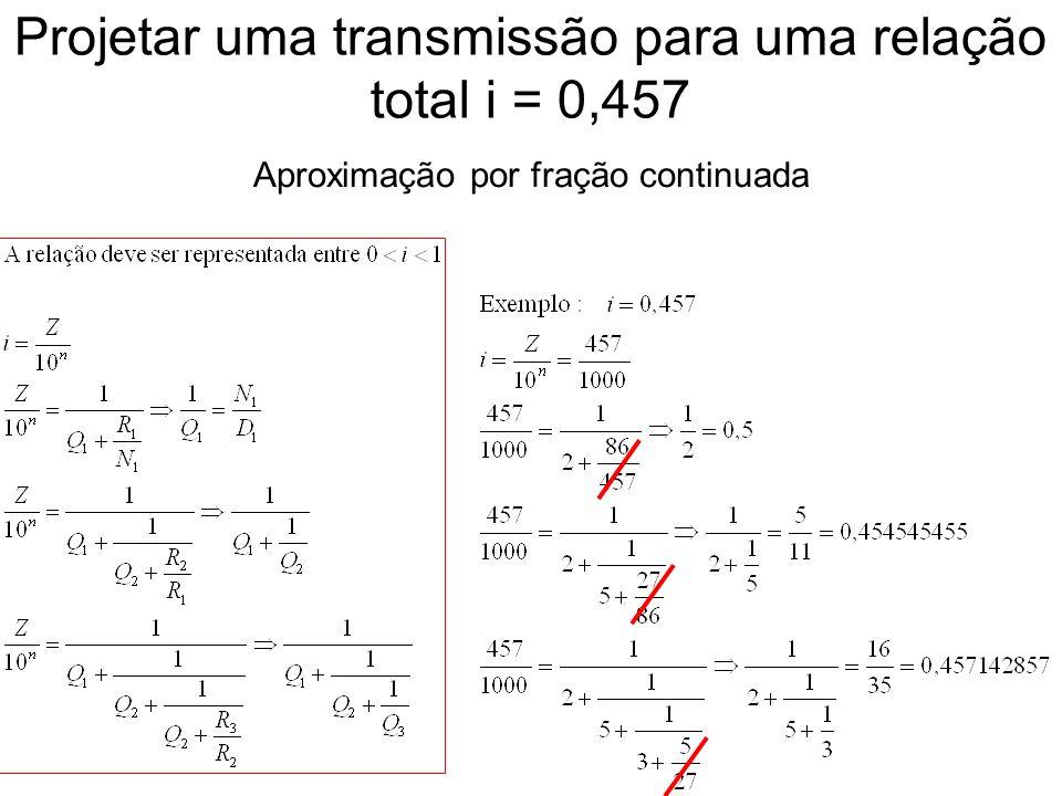 Projetar uma transmissão para uma relação total i = 0,457