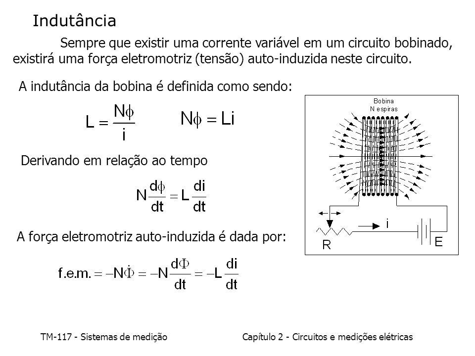 Indutância Sempre que existir uma corrente variável em um circuito bobinado, existirá uma força eletromotriz (tensão) auto-induzida neste circuito.