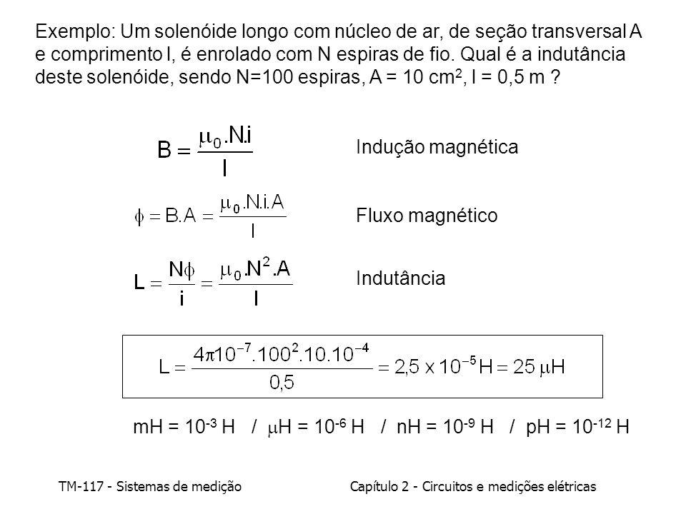 Exemplo: Um solenóide longo com núcleo de ar, de seção transversal A e comprimento l, é enrolado com N espiras de fio. Qual é a indutância deste solenóide, sendo N=100 espiras, A = 10 cm2, l = 0,5 m
