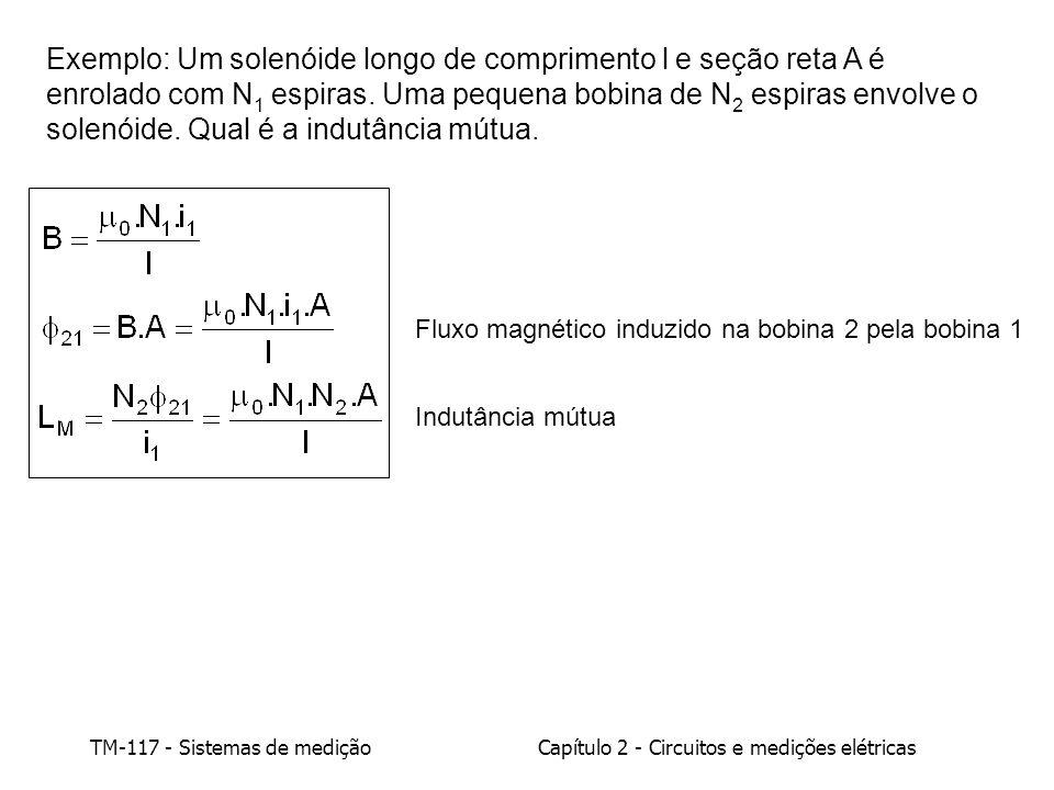 Exemplo: Um solenóide longo de comprimento l e seção reta A é enrolado com N1 espiras. Uma pequena bobina de N2 espiras envolve o solenóide. Qual é a indutância mútua.