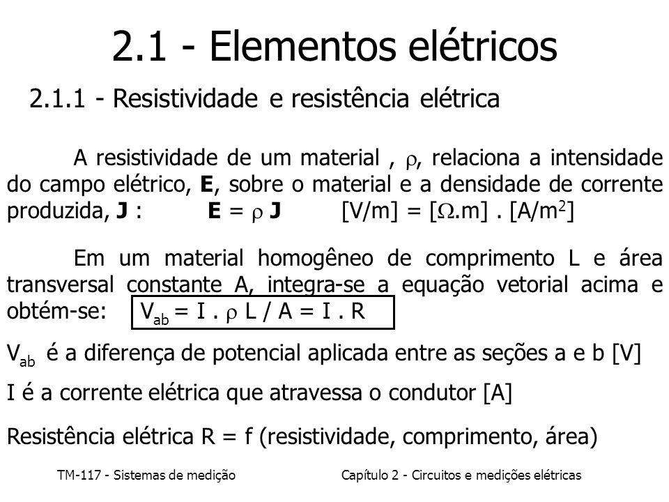 2.1 - Elementos elétricos 2.1.1 - Resistividade e resistência elétrica