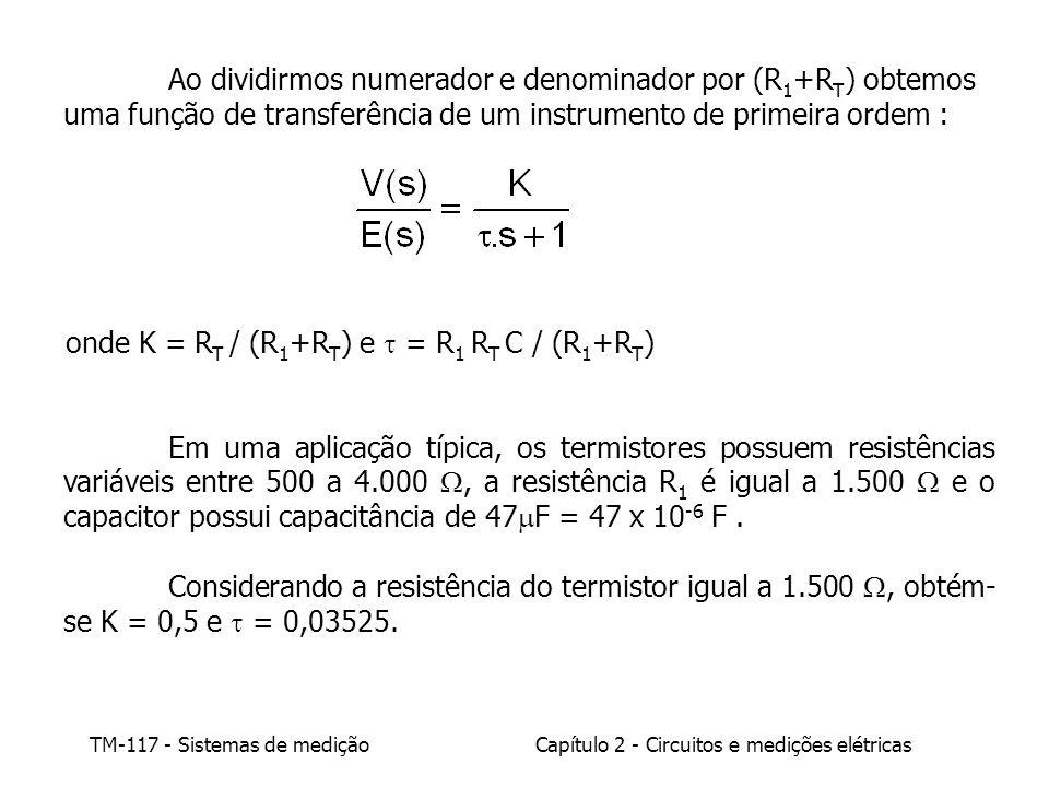 Ao dividirmos numerador e denominador por (R1+RT) obtemos uma função de transferência de um instrumento de primeira ordem :