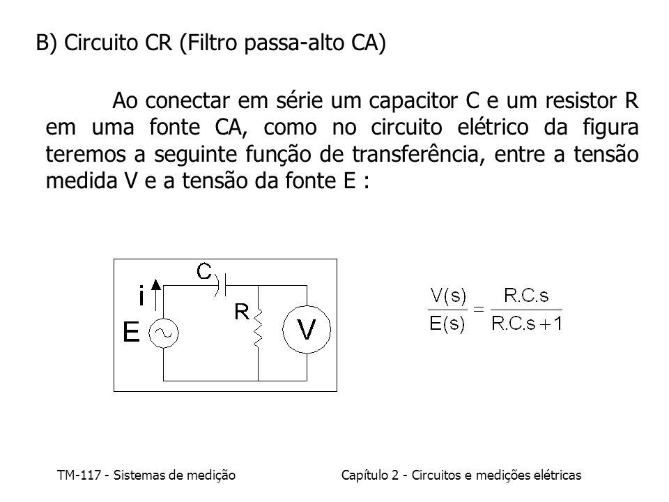 B) Circuito CR (Filtro passa-alto CA)
