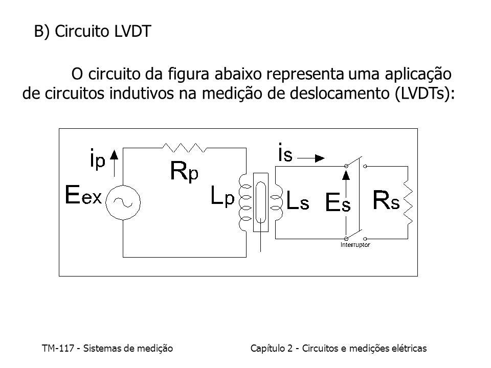 B) Circuito LVDT O circuito da figura abaixo representa uma aplicação de circuitos indutivos na medição de deslocamento (LVDTs):