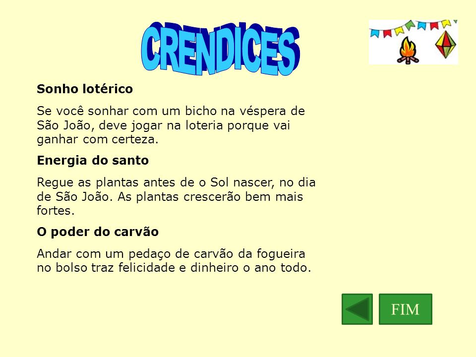 CRENDICES FIM Sonho lotérico