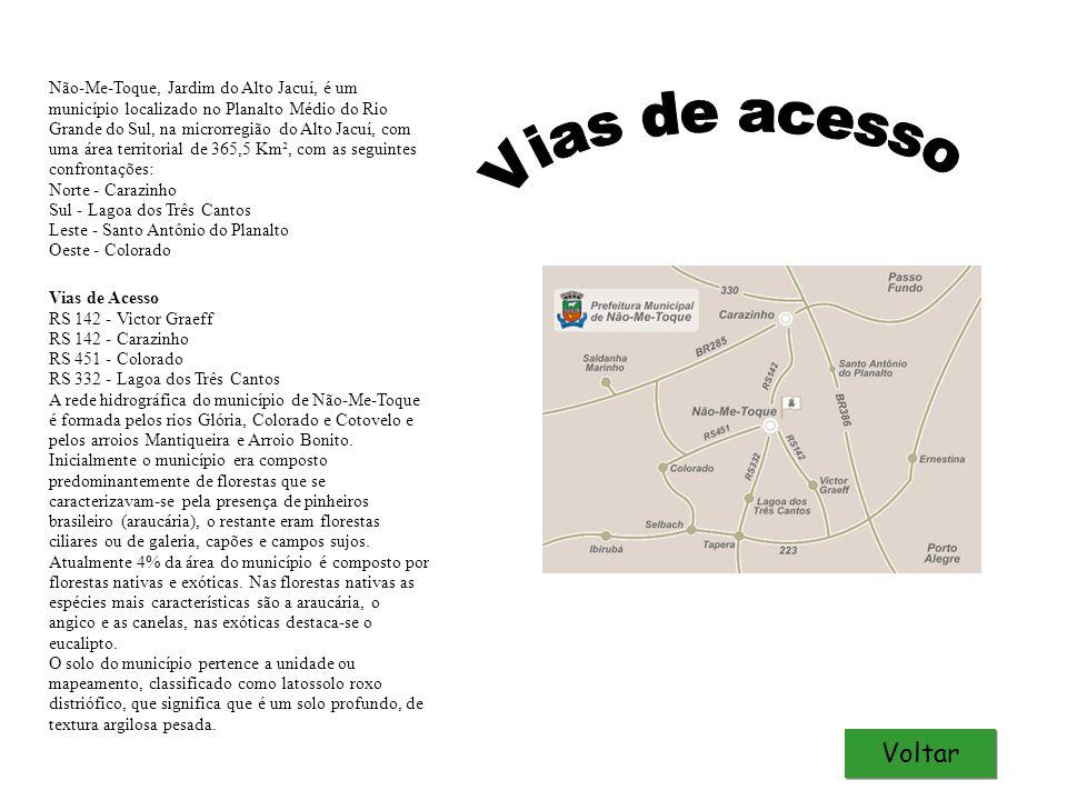 Não-Me-Toque, Jardim do Alto Jacuí, é um município localizado no Planalto Médio do Rio Grande do Sul, na microrregião do Alto Jacuí, com uma área territorial de 365,5 Km², com as seguintes confrontações: