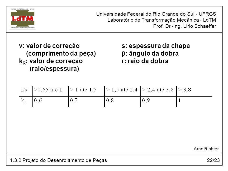 v: valor de correção (comprimento da peça) kR: valor de correção
