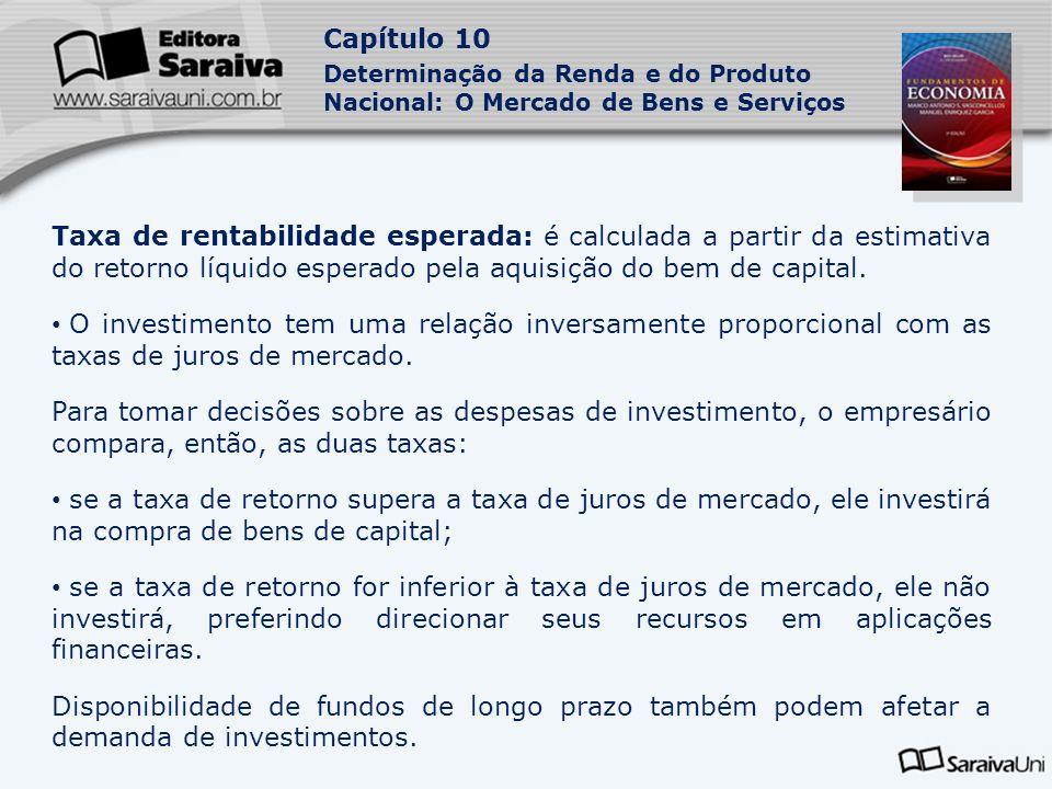 Taxa de rentabilidade esperada: é calculada a partir da estimativa do retorno líquido esperado pela aquisição do bem de capital.