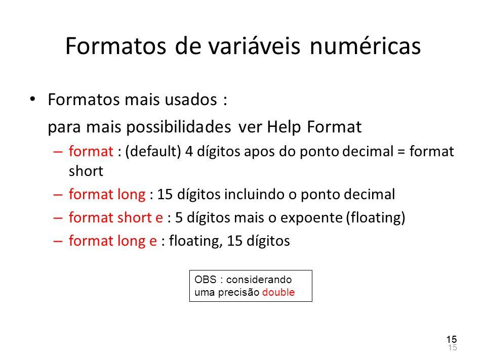 Formatos de variáveis numéricas