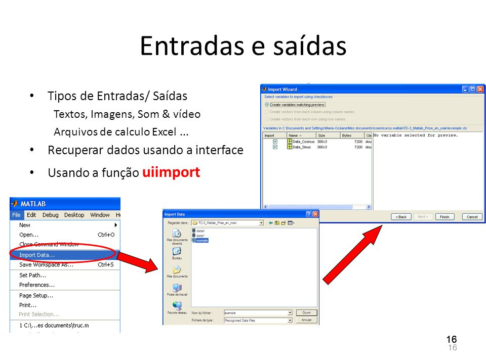 Entradas e saídas Tipos de Entradas/ Saídas