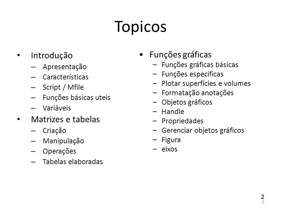 Topicos Introdução Matrizes e tabelas Funções gráficas Apresentação
