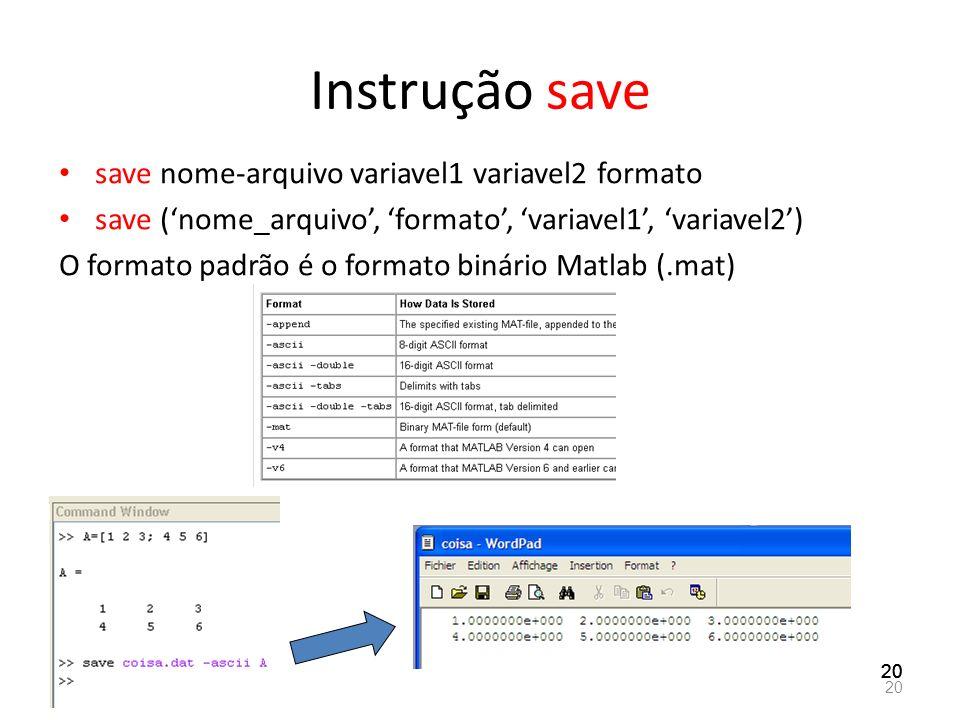 Instrução save save nome-arquivo variavel1 variavel2 formato