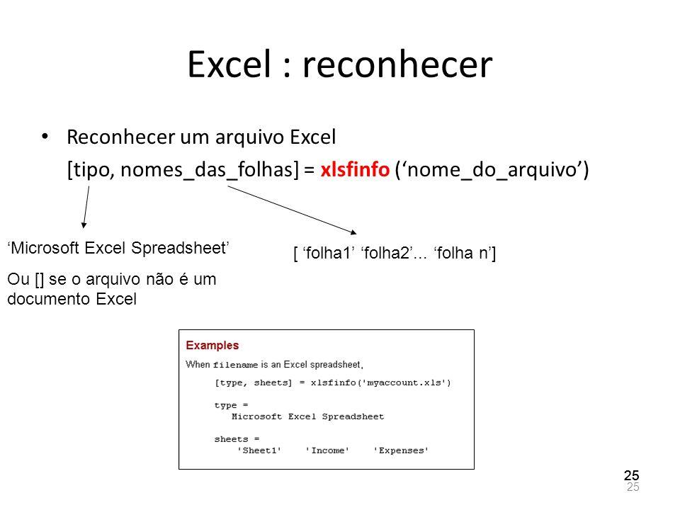 Excel : reconhecer Reconhecer um arquivo Excel