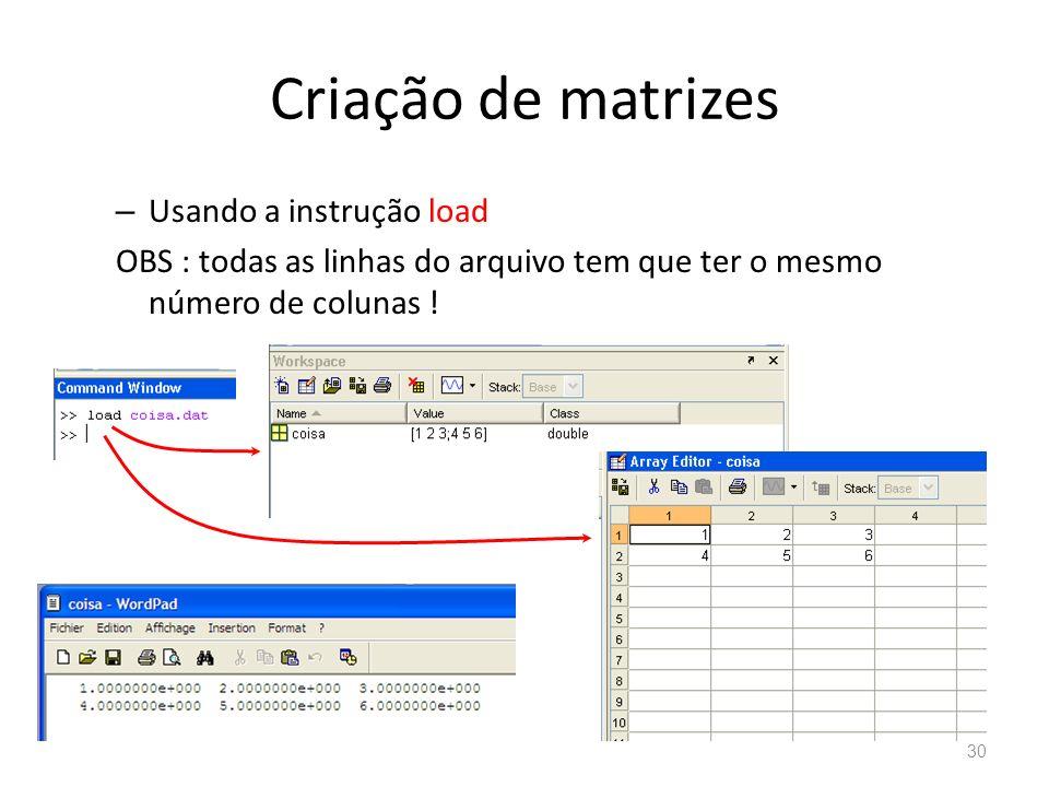 Criação de matrizes Usando a instrução load
