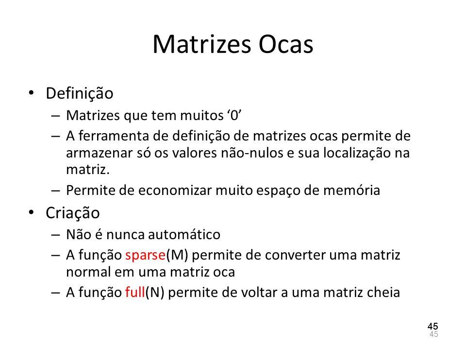 Matrizes Ocas Definição Criação Matrizes que tem muitos '0'