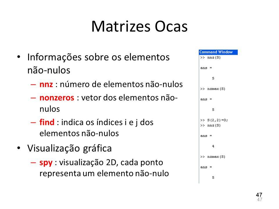 Matrizes Ocas Informações sobre os elementos não-nulos