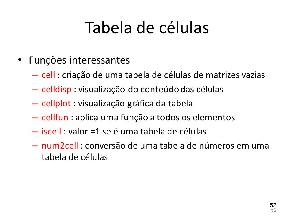 Tabela de células Funções interessantes