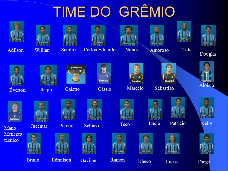 TIME DO GRÊMIO Adilson Willian Sandro Carlos Eduardo Nunes Amoroso