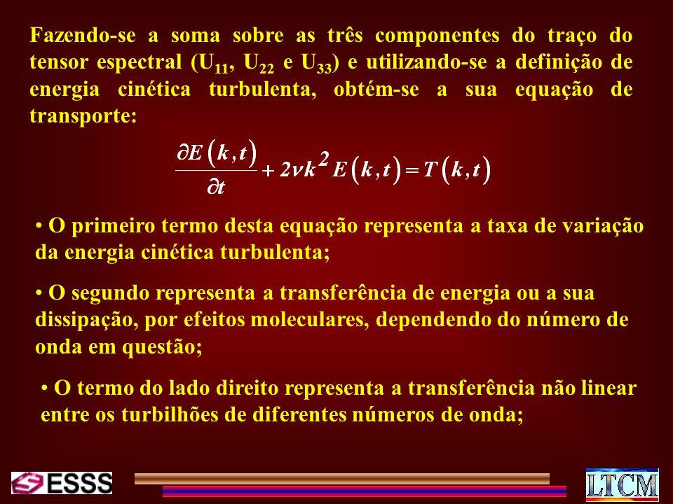 Fazendo-se a soma sobre as três componentes do traço do tensor espectral (U11, U22 e U33) e utilizando-se a definição de energia cinética turbulenta, obtém-se a sua equação de transporte: