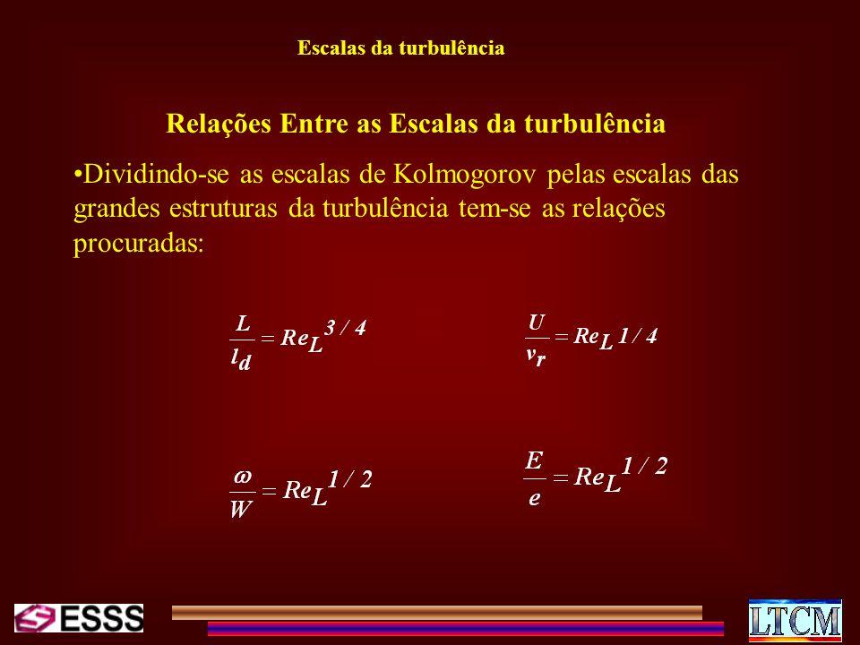 Escalas da turbulência Relações Entre as Escalas da turbulência