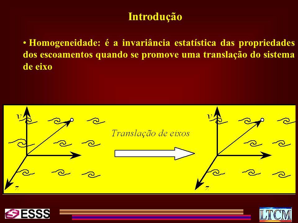 Introdução Homogeneidade: é a invariância estatística das propriedades dos escoamentos quando se promove uma translação do sistema de eixo.
