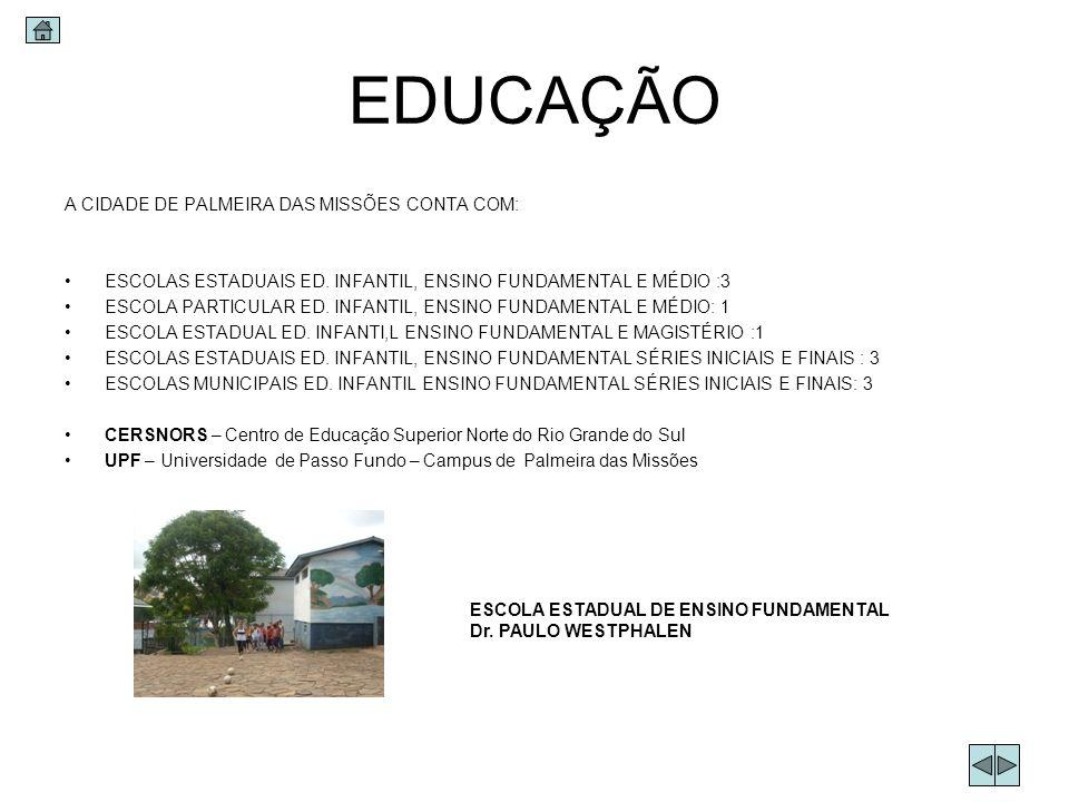 EDUCAÇÃO A CIDADE DE PALMEIRA DAS MISSÕES CONTA COM:
