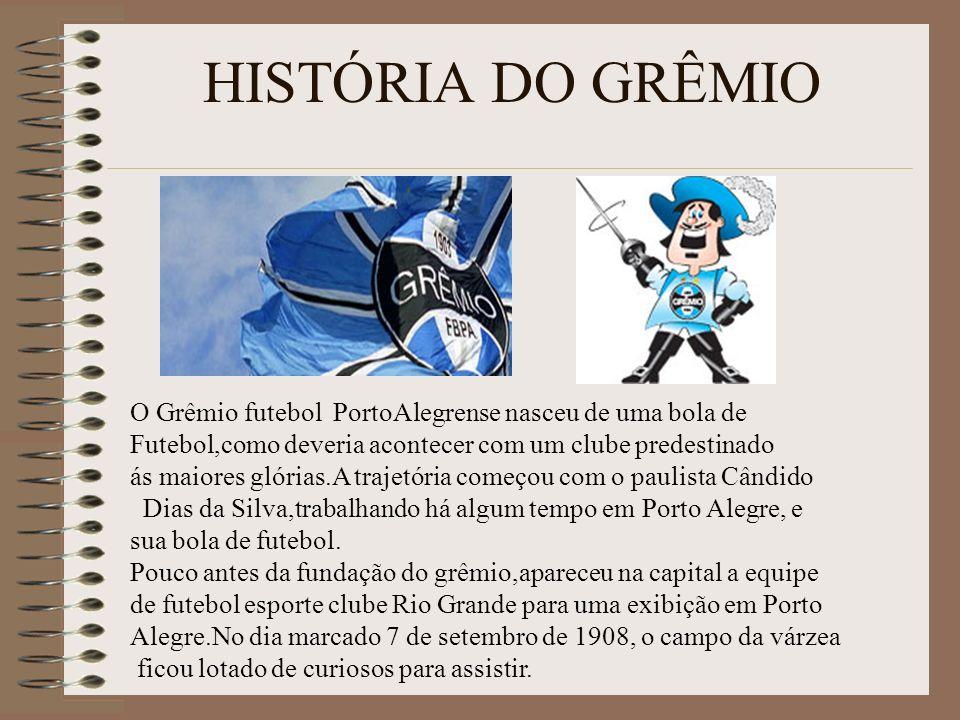 HISTÓRIA DO GRÊMIO O Grêmio futebol PortoAlegrense nasceu de uma bola de. Futebol,como deveria acontecer com um clube predestinado.