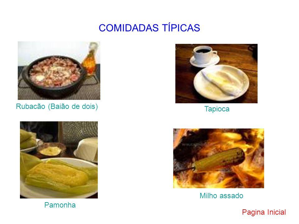 COMIDADAS TÍPICAS Rubacão (Baião de dois) Tapioca Milho assado Pamonha