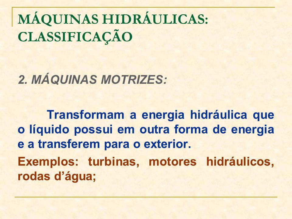 MÁQUINAS HIDRÁULICAS: CLASSIFICAÇÃO