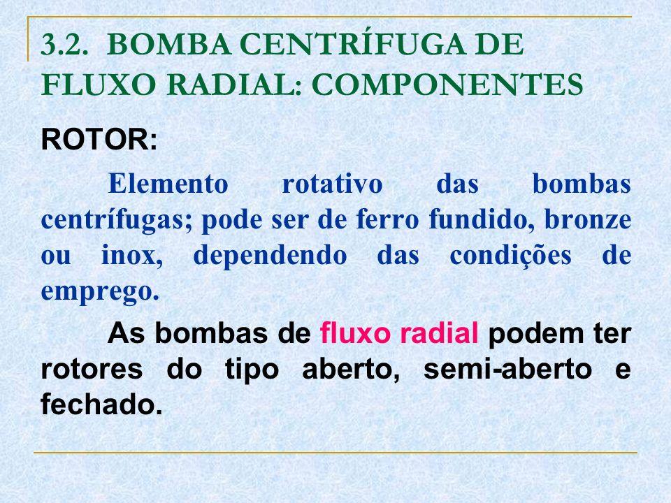 3.2. BOMBA CENTRÍFUGA DE FLUXO RADIAL: COMPONENTES