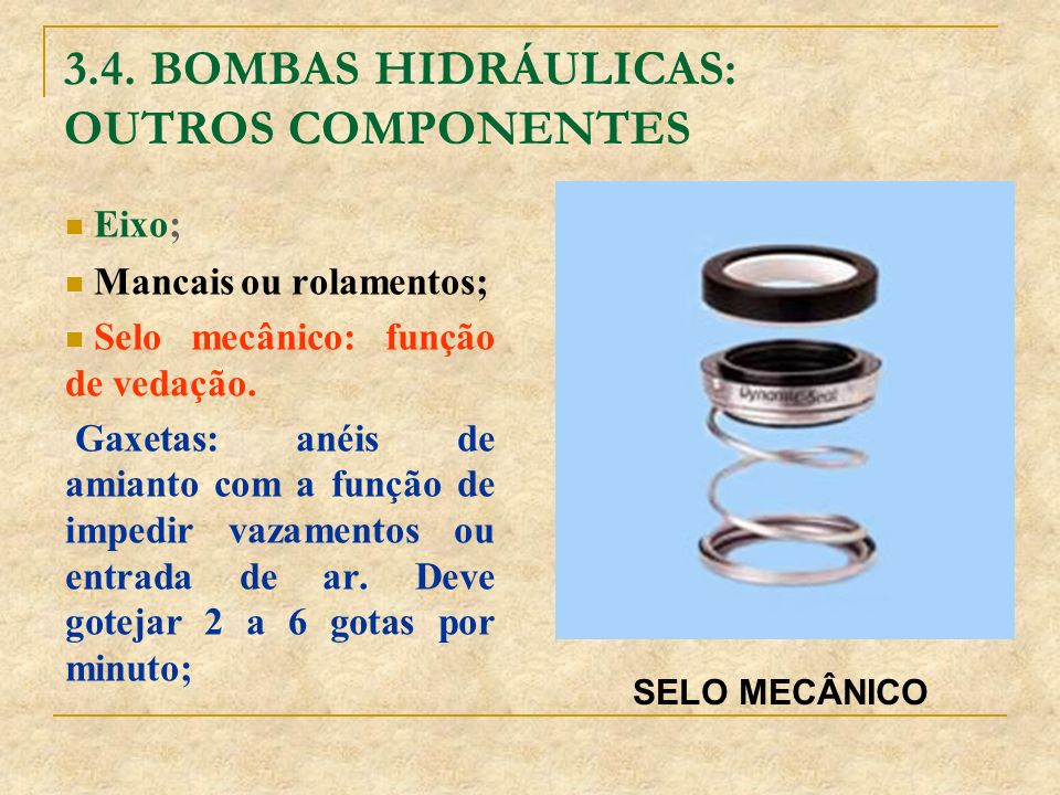 3.4. BOMBAS HIDRÁULICAS: OUTROS COMPONENTES